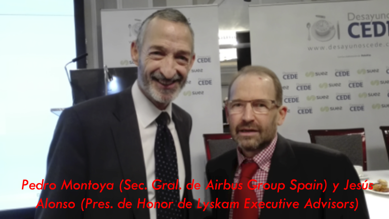 Lyskam EA: Pedro Montoya (Airbus Group Spain) y Jesús Alonso (Pres. Honor Lyskam Executive Advisors)
